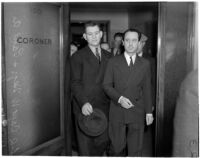 Captain Walter E. Hegi of the Glendale Police Dept. and Paul A. Wright leaving the office of coroner Frank Nance, Los Angeles, November 9, 1937
