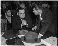 William Bioff and Judge Isaac Pacht at an investigation of the affairs of the International Alliance of Theatrical Stage Employees, Los Angeles, November 1937
