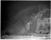 Nighttime shot of the Elysian Park landslide slope, Los Angeles, November 1937