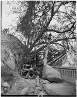 Mechanics work to repair damage caused by the Elysian Park landslide, Los Angeles, November 1937
