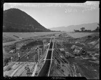 View from the Los Feliz bridge of flood-control construction in the Los Angeles River valley, Los Angeles, 1937