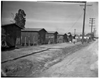 Row of homes along a dirt road in the slums, Los Angeles, 1925-1945