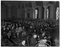 City council meeting at which the main topic was an anti-picketing ordinance, Los Angeles, January 1938