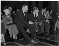 C.H. Jordan, George Roberts, and A.L. Wirin at a city council meeting concerning an anti-picketing ordinance, Los Angeles, January 1938