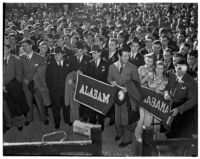 Alabama Crimson Tide football team arrives in Pasadena for the 1938 Rose Bowl game, December 24, 1937