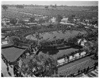 Aerial view of the Santa Anita horse paddock, Arcadia, December 25, 1937