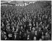 Crowd on opening day of Santa Anita's fourth horse racing season, Arcadia, December 25, 1937