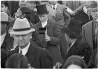 Spectators on opening day of Santa Anita's fourth horse racing season, Arcadia, December 25, 1937