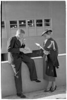 Spectators between races on opening day of Santa Anita's fourth horse racing season, Arcadia, December 25, 1937