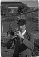 Bugle player on opening day of Santa Anita's fourth horse racing season, Arcadia, December 25, 1937