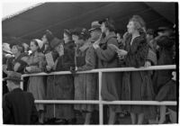 Spectators watch a race on opening day of Santa Anita's fourth horse racing season, Arcadia, December 25, 1937