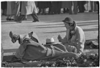 Spectators take a break on opening day of Santa Anita's fourth horse racing season, Arcadia, December 25, 1937