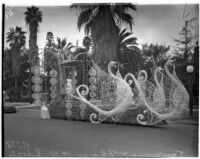 Swan float in the Tournament of Roses Parade, Pasadena, 1938