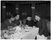 David Gill, first assistant postmaster William W. Howes, acting postmaster of Los Angeles Mary D. Briggs, and supervisor John Anson Ford having breakfast at the Ambassador Hotel, Los Angeles, January 7, 1938