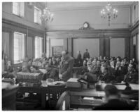 "Courtroom scene from the ""white flame"" murder trial, where Paul A. Wright is accused of the murders of his wife and best friend, Los Angeles, 1938"