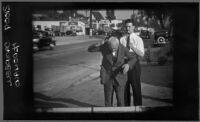Screenshot from a film used by the prosecution at the DeWitt Clinton Cook murder trial of Cook re-enacting his murder of Anya Sosoyeva, Los Angeles, October 11, 1939