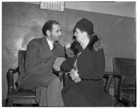 Peter Pianezzi with his mother Rose Pianezzi, at a trial where he is charged with the murders of George (Les) Bruneman and Frank A. Greuzard, Los Angeles, 1940s