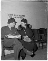 Rose Pianezzi and Nathan O. Freedman, mother and lawyer of Peter Pianezzi who is on trial for the murders of George (Les) Bruneman and Frank A. Greuzard, Los Angeles, 1940s