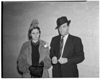 Mrs. Elaine Huddle and Dean Farris, witnesses at the Peter Pianezzi murder trials, Los Angeles, 1940s