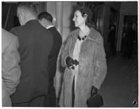 Mrs. Elaine Huddle, witness at the Peter Pianezzi murder trials, Los Angeles, 1940s
