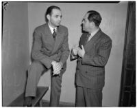 Peter Pianezzi with his lawyer Nathan O. Freedman, at a trial where he is charged with the murders of George (Les) Bruneman and Frank A. Greuzard, Los Angeles, 1940s