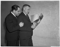 Nathan O. Freedman and Dep. Dist. Attorney Arthur Veitch at the Peter Pianezzi murder trials, Los Angeles, 1940s