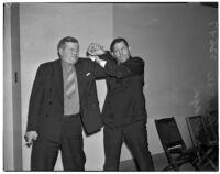 Former wrestlers Pat McKee and Joe Varga, Los Angeles, 1940s