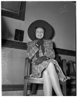 Mrs. Mary Dell Eaton sitting in a chair and laughing, Los Angeles