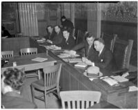 "Members of the ""little Dies committee"" at hearings for charges of Communist activity against members of the Los Angeles County S.R.A., Feb. 5, 1940"