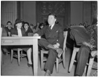 East Los Angeles S.R.A director, Samuel J. Ayeroff, at a hearing where he is accused of being a member of the Young Communist League, Feb. 5, 1940