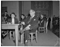 Former chairman of the L.A. County Young Democrats, Joseph Ayeroff, at a hearing where he is accused of Communist activity, Feb. 5, 1940