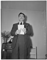 "Assemblyman Sam Yorty, chairman of the ""little Dies committee"" at hearings for charges of Communist activity against members of the Los Angeles County S.R.A., Feb. 5, 1940"