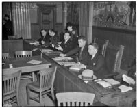 "The ""little Dies committee"" at hearings for charges of Communist activity against members of the Los Angeles County S.R.A., Feb. 5, 1940"