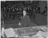 George Bertholon, former Young Communist League organizer, at hearings for charges of Communist activity against members of the Los Angeles County S.R.A., Feb. 5, 1940