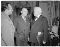 State board of equalization member William G. Bonelli with A. Brigham Rose and Carlos S. Hardy at the liquor license bribe trial, Oct. 1939 - May 1940
