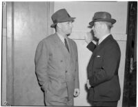 State board of equalization member William G. Bonelli and Edward Levine at the liquor license bribe trial, Oct. 1939 - May 1940
