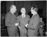 William J. Cook, Edward Levine, and unidentified man at the liquor license bribe trial, Oct. 1939 - May 1940