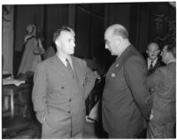 State board of equalization member William G. Bonelli and chief liquor control officer Merle Templeton at the liquor license bribe trial, Oct. 1939 - May 1940