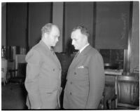 State board of equalization member William G. Bonelli with one of his attorneys, Donald MacKay, at the liquor license bribe trial, Oct. 1939 - May 1940