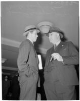 Chief liquor control officer Merle Templeton with attorney James Flanagan at the liquor license bribe trial, Oct. 1939 - May 1940
