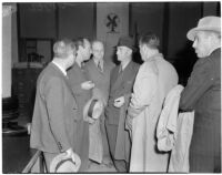 Group of defendants and attorneys at the liquor license bribe trial, Oct. 1939 - May 1940