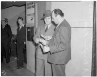 State board of equalization member William G. Bonelli and A. Brigham Rose at the liquor license bribe trial, Oct. 1939 - May 29, 1940