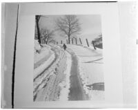 Photograph of a child walking through the snow, featured in the annual Popular Photography exhibit, 1940s