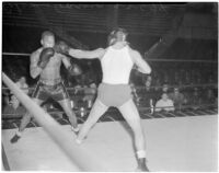 Ceferino Garcia, champion boxer from the Philippines, during a fight, Los Angeles, circa 1938