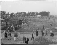 Crowd at the former site of the Golden State Fireworks and Display Co. plant at Redondo Beach, where a fireworks explosion occurred, February 1940