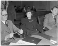 Marsena Norton, widow of John Thomas Norton, in the courtroom seeking $25,000 in damages for the death of her husband in an automobile accident, Los Angeles, 1940