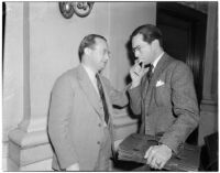 Maier (Maxie) Joskowitz, cafe owner and confessed front man in a liquor license pay-off plot, with his attorney Paul Angelillo during the trial, Oct. 1939-May 1940