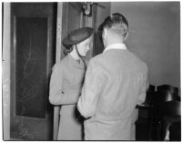Mona J. Pickett and an unidentified man, possibly in connection to her divorce from Carl J. Pickett, Los Angeles, 1940