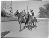 Mrs. George Diskant and Mrs. Jimmie Curtis horseback riding in Los Angeles, circa 1940