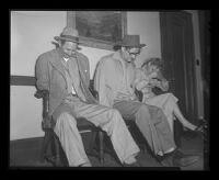 Emmet Perkins, Jack Santo and Barbara Graham shortly after their capture, Los Angeles, 1953